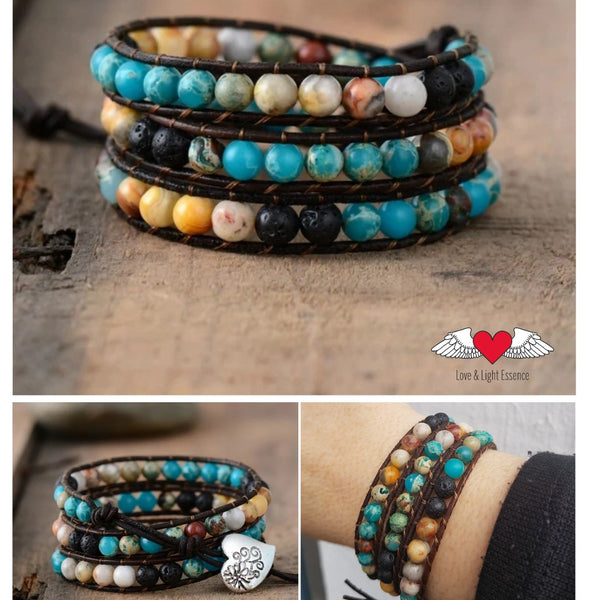 Gemstone & Lava Leather Wrap Bracelet