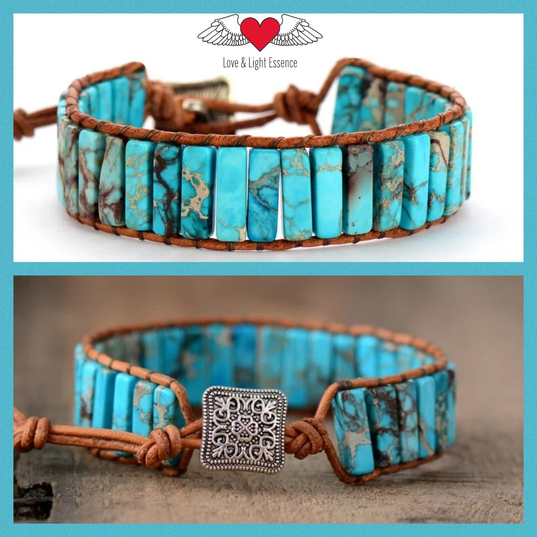 Turquiose Leather Wrap Bracelet