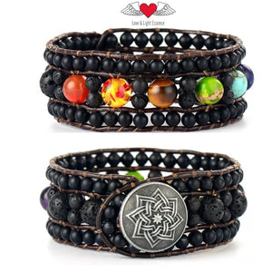 Chakra Gemstone Leather Cuff Bracelet