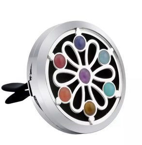Essential Oil Car Diffuser Jewellery - Flower with Chakra  Gemstones