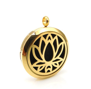 Love & Light Essence. Gold Essential Oil Diffuser Necklace 100% Surgical Grade 316L Stainless Steel Lotus Flower Front On View