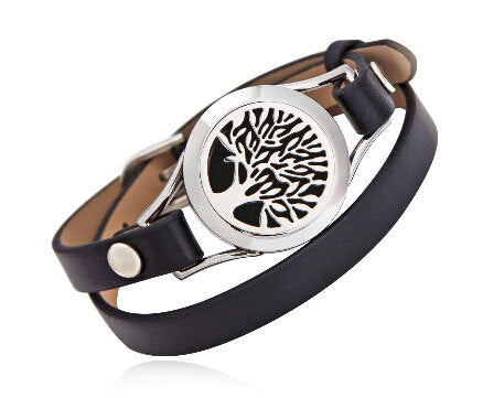 Love and Light Essence - Essential Oil Diffuser Leather Bracelet - Black - Tree of Life 1