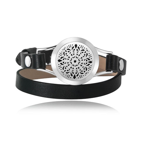 Love and Light Essence - *NEW* Essential Oil Diffuser Leather Bracelet - Black - Mandala