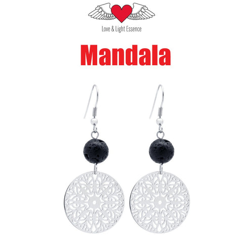 Lava Stone Diffuser Earrings-Mandala
