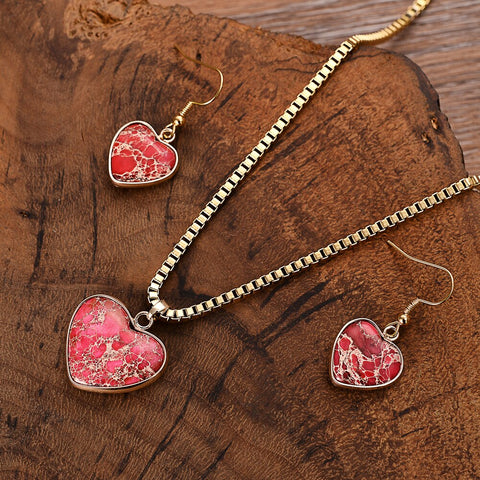 Pink Heart Necklace & Earring Set