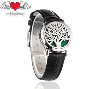 Essential Oil Diffuser Leather Wrap Bracelet- Tree of Life