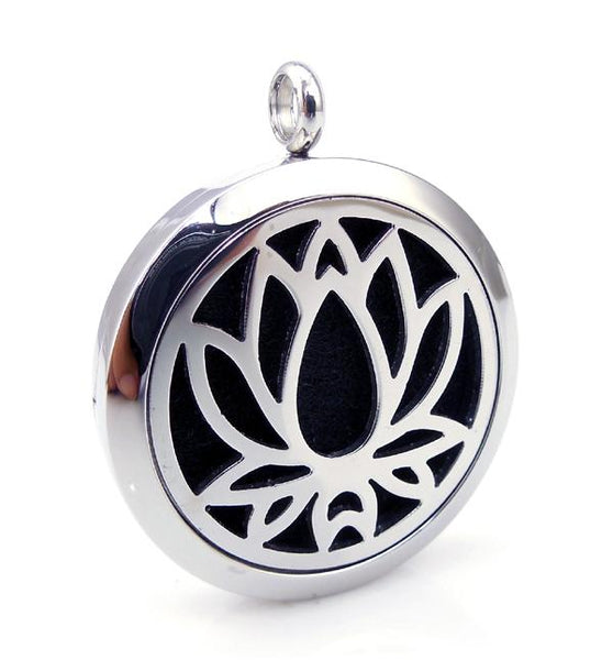 Love & Light Essence. Silver Essential Oil Diffuser Necklace 100% Surgical Grade 316L Stainless Steel Lotus Flower 2 Front On View