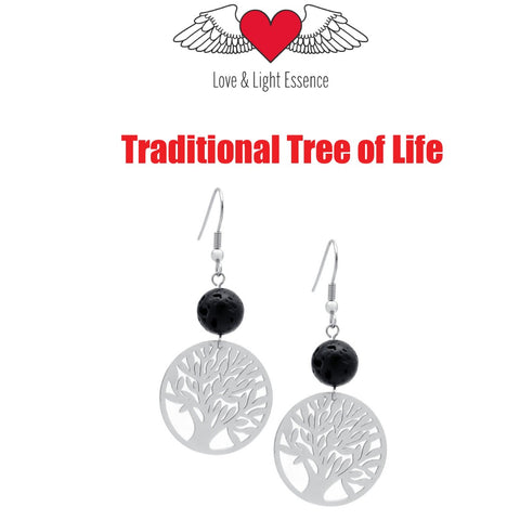 Lava Stone Diffuser Earrings - Tree of Life