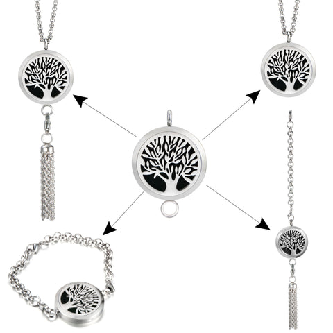 Essential Oil Necklace, Bracelet & Tassell Set- TREE OF LIFE