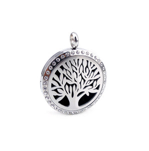 Love and Light Essence - Essential Oil Diffuser Necklace with Crystals - Tree of Life