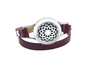 Essential Oil Diffuser Leather Bracelet  - Lotus Flower- Red Wine Band