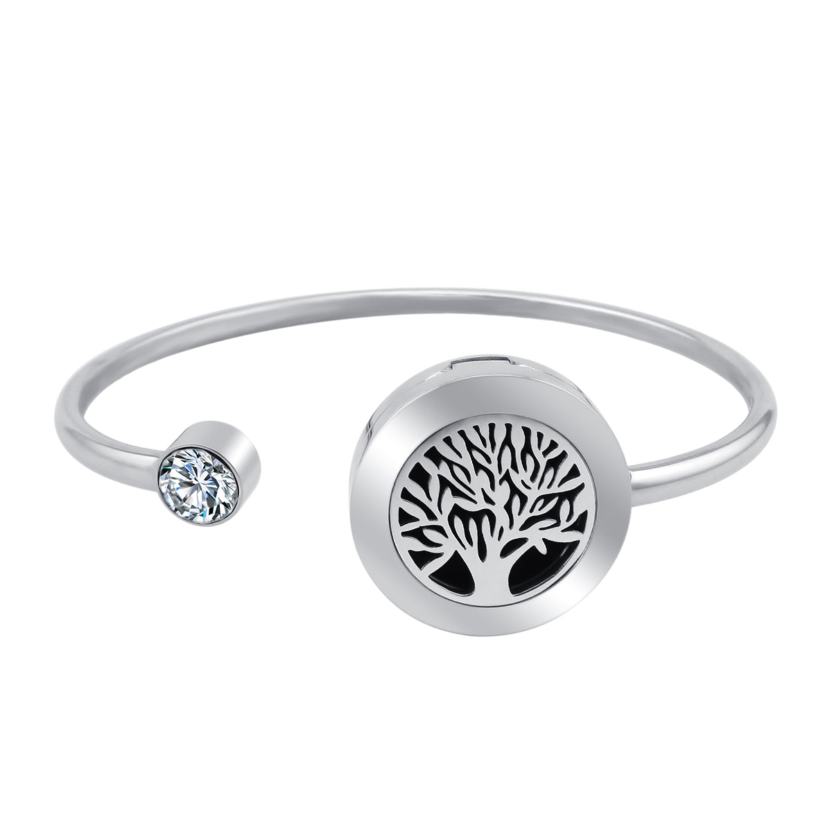 Essential Oil Diffuser Bangle - Tree of Life with Crystal