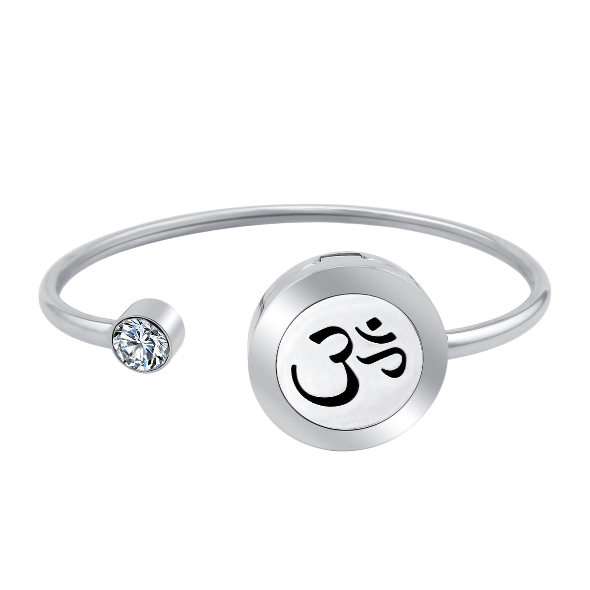 Essential Oil Diffuser Bracelet - OM Bangle with Crystal