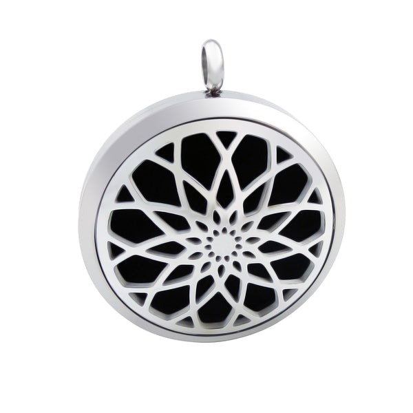 Essential Oil Diffuser Necklace - Raised Lotus Flower- XL 38mm- Silver