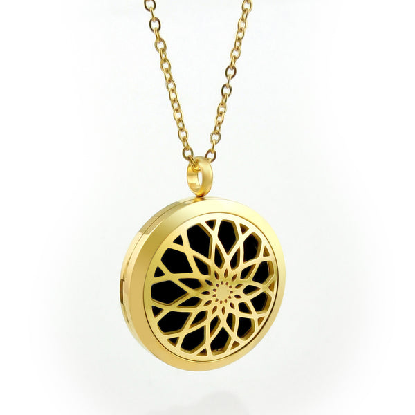 Essential Oil Diffuser Necklace - Raised Lotus Flower- XL 38mm-  Gold