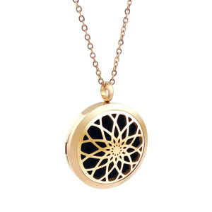 Essential Oil Diffuser Necklace - Raised Lotus Flower- XL 38mm- Rose Gold