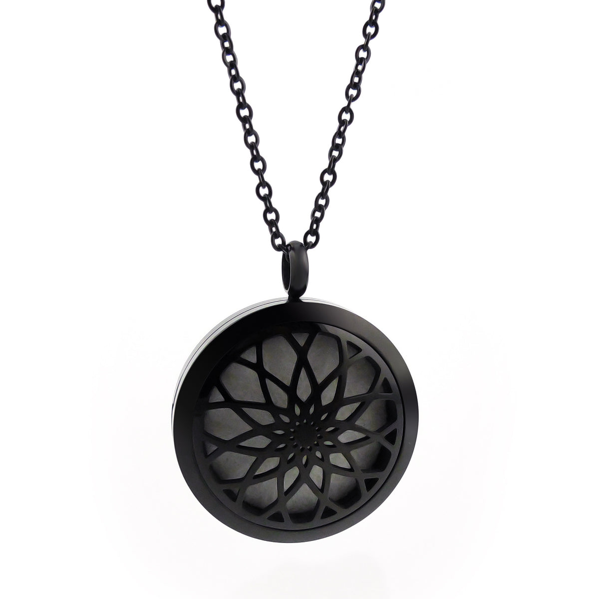 Essential Oil Diffuser Necklace - Raised Lotus Flower- XL 38mm-  Black
