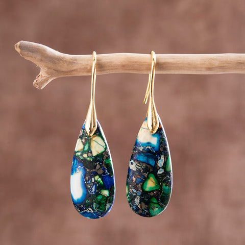 Green Blue Jasper Drop Earrings Gold
