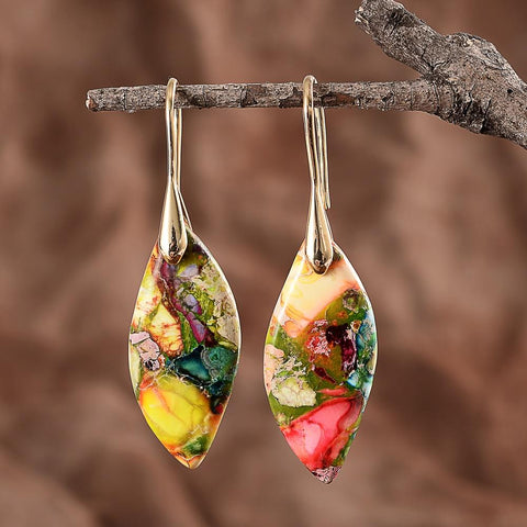 Divine Goddess Leaf Drop Earrings- Gold