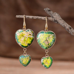 Double Heart Jasper Earrings- Green