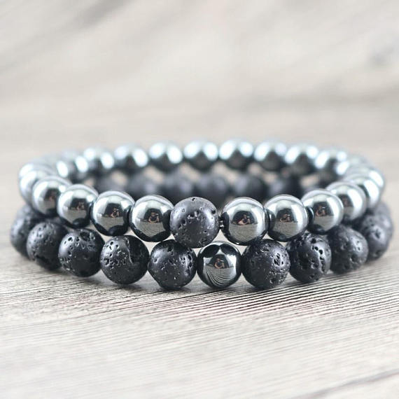 Love and Light Essence - Couples Yin/ Yang Bracelet Sets - Hematite & Lava Stone