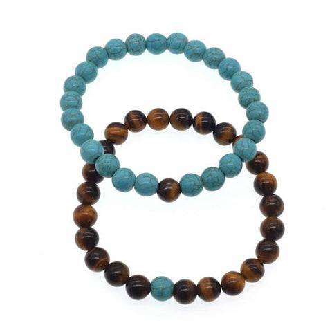 Love and Light Essence - Couples Yin/ Yang Bracelet Sets - Turquoise & Tiger's Eye