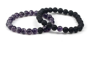 Love and Light Essence - Couples Yin/ Yang Bracelet Sets - Amethyst & Black Onyx
