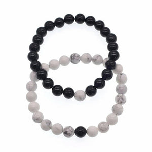 Love and Light Essence - Couples Yin/ Yang Bracelet Sets - Howlite & Black Onyx