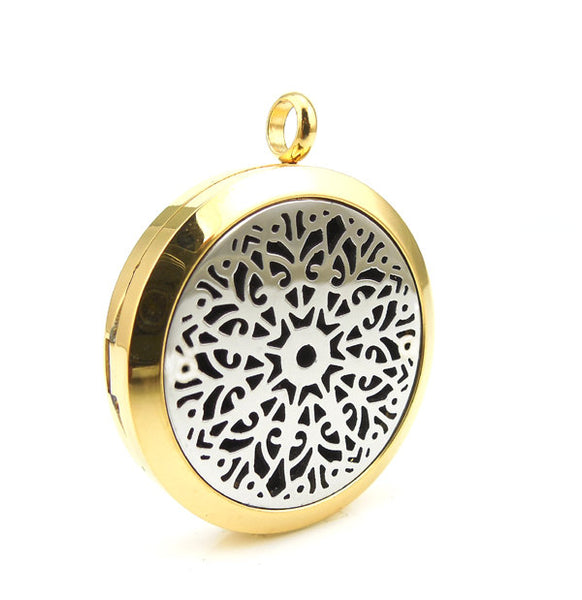 Love and Light Essence - Essential Oil Diffuser Necklace - Two Tone Mandala