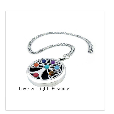 Love and Light Essence - Essential Oil Diffuser Necklace - Tree of Life Chakra