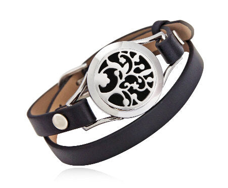 Love and Light Essence - Essential Oil Diffuser Leather Bracelet - Black - Tree of Life 2