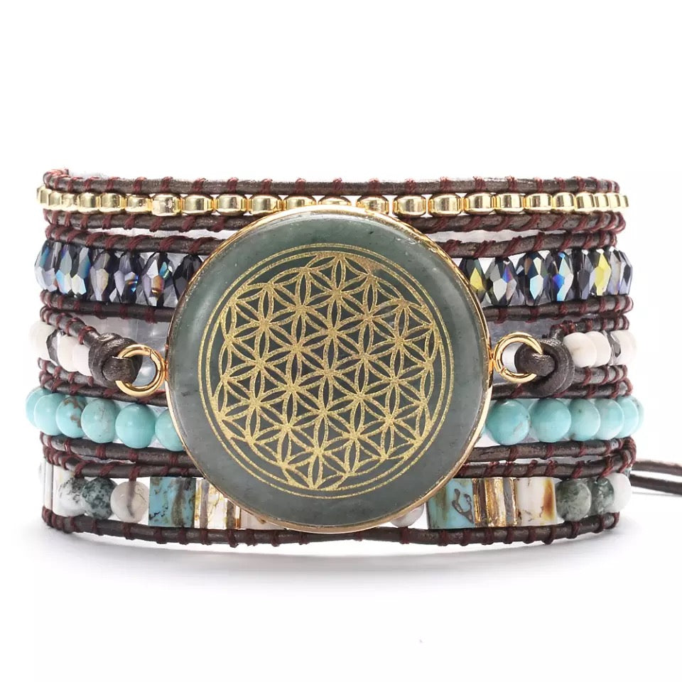 Flower Of Life Heart Healing Wrap Bracelet
