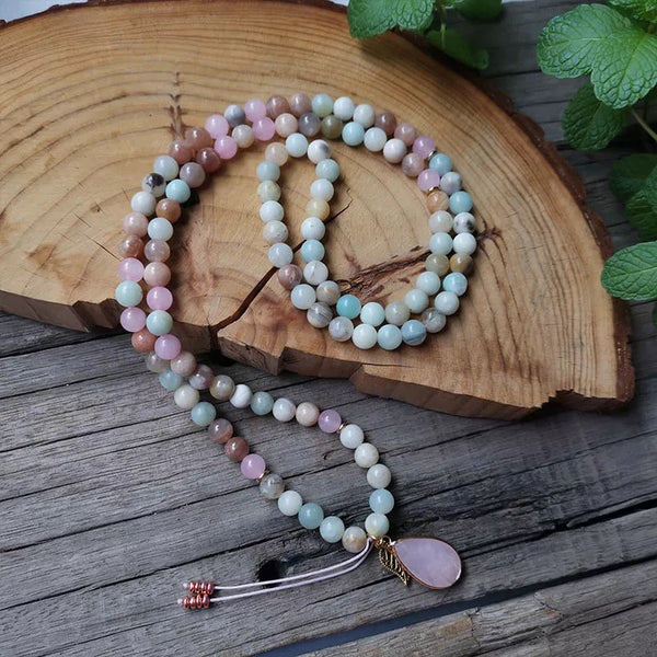 108 Rose Quartz Leaf Mala Necklace & Bracelet Set
