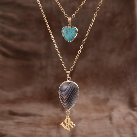 Love Persian Agate Double Necklace