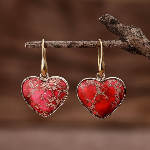 Red Heart Jasper Earrings