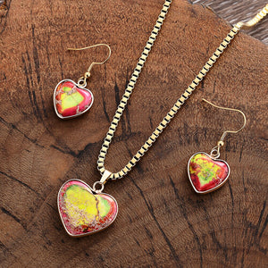 Imperial Jasper Red Heart Necklace & Earring Set
