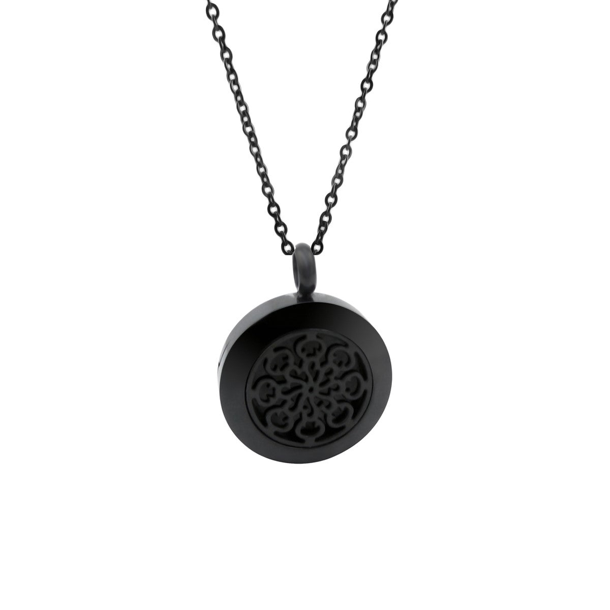 Essential Oil Diffuser Necklace - Small Spiral Pattern- Black