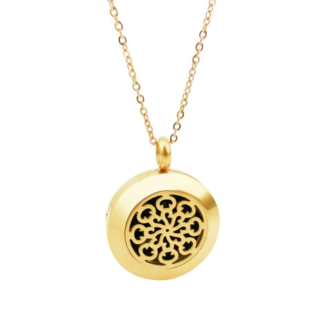 Essential Oil Diffuser Necklace - Small Spiral Pattern- Gold