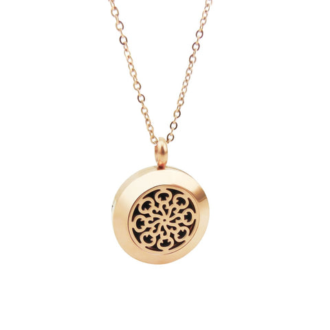 Essential Oil Diffuser Necklace - Small Spiral Pattern- Rose Gold