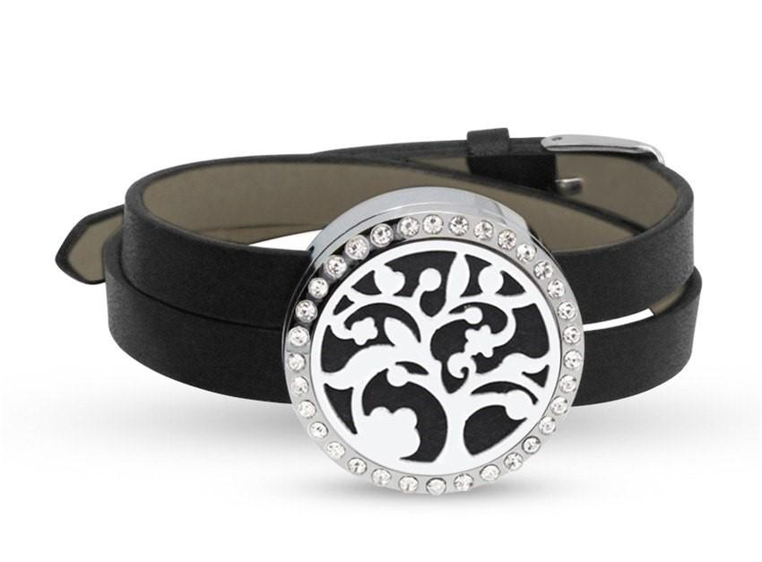 Spiral Tree Diffuser Bracelet with crystals