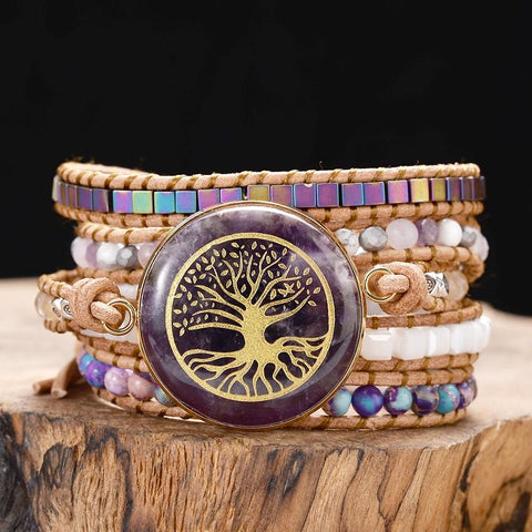 Tree of Life Amethyst Leather Wrap Bracelet