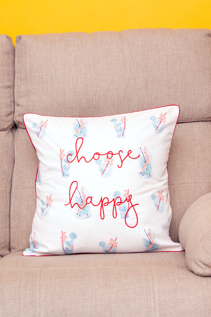 Choose Happy White Cushion Cover
