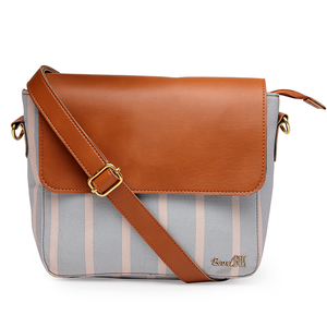 Grey Stripe Sling Bag