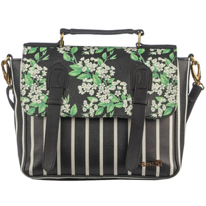 Black & White Floral Satchel Bag