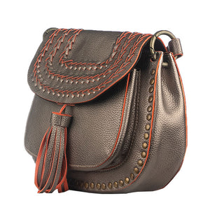Metallic Silver Saddle Bag