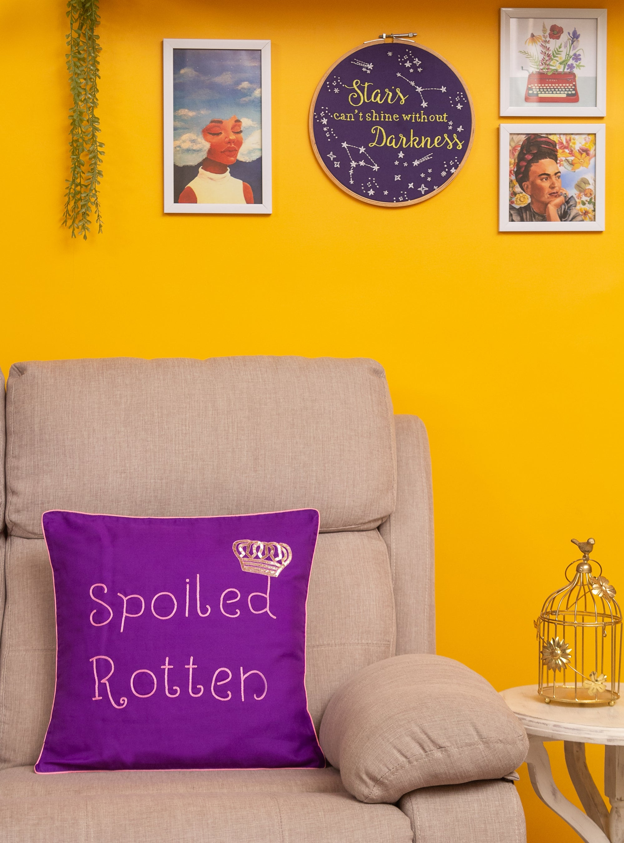 Spoiled Rotten Purple Cushion Cover