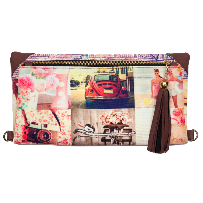 Pink Collage Clutch & Sling