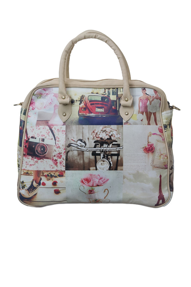 Pink Collage Travel Bag