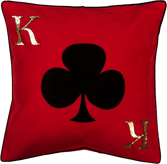 King Of Clubs Red Cushion Cover