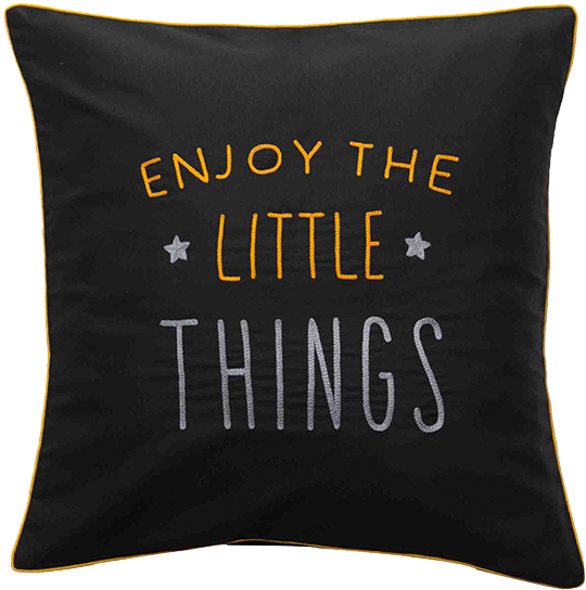 Enjoy The Little Things (Black) Cushion Cover